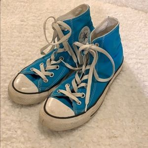 Electric Blue Hightop Converse, Size 7